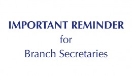Reminder for Branch Secretaries